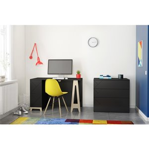 Nexera Atypik 2-Piece Contemporary Plywood Home Office Set - Black