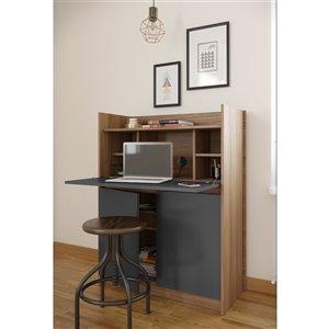 Nexera Chrono Secretary Desk - 36-in - Charcoal Grey