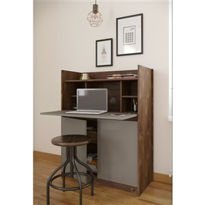 Nexera Chrono Secretary Desk - 36-in - Truffle
