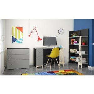 Nexera Atypik 2-Drawer PlywoodDesk - 47-in - Black/Greige