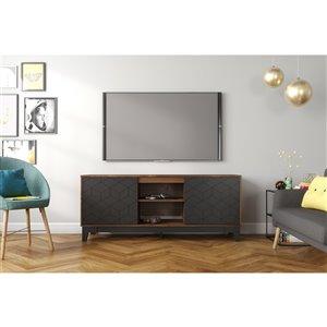 Nexera Hexagon TV Stand - 63-in - Black/Truffle