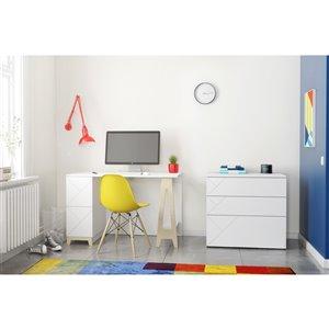 Nexera Atypik 2-Piece Modern Plywood Home Office Set - White