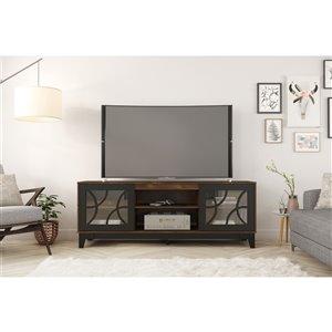 Nexera Venus TV Stand - 72-in - Black/Truffle