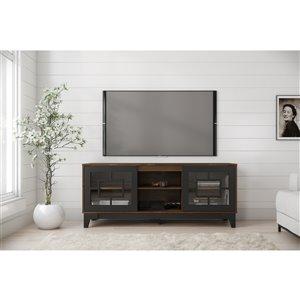 Nexera Magnolia TV Stand - 63-in - Black/Truffle