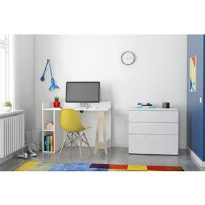 Nexera Atypik 2-Piece Contemporary Plywood Home Office Set - White