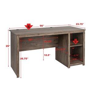 Prepac Sonoma Home Office Desk - 56-in - Drifted Gray