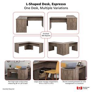 Prepac L-shaped Office Desk - 56-in - Drifted Gray