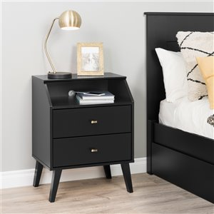 Prepac Milo 2-Drawer Night Stand with Angled Top - Black