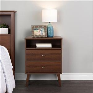 Prepac Milo 2-Drawer Tall Nightstand with Open Shelf - Cherry
