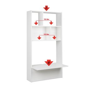 Prepac Tall Floating Desk - 30-in - White