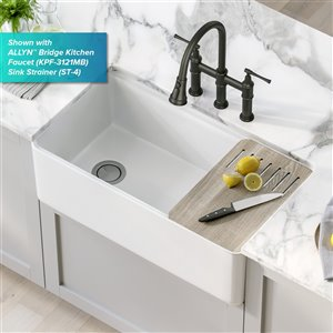 Kraus Apron Front Sink with Accessories - 33-in - White