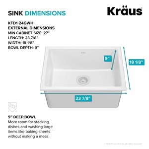 Kraus Drop-In Undermount Fireclay Sink in Gloss - 24-in - White