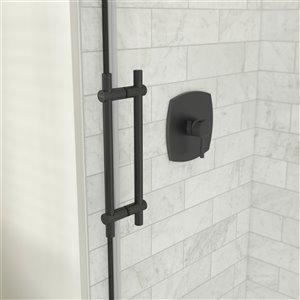 MAAX Odyssey Shower Kit - Frameless Sliding Door with Base - Left Drain - 32-in x 59.87-in - Matte Black - 2-Piece