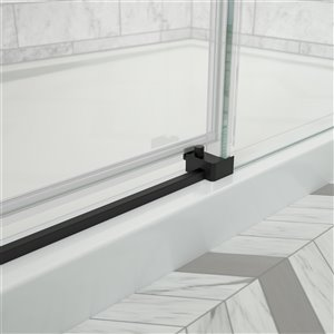 MAAX Odyssey Shower Kit - Frameless Sliding Door with Base - Right Drain - 32-in x 59.87-in - Matte Black - 2-Piece