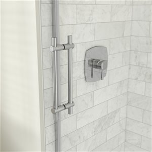 MAAX Odyssey Shower Kit - Frameless Sliding Door with Base - Left Drain - 32-in x 59.87-in - Chrome - 2-Piece