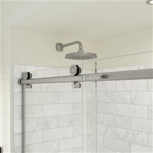 MAAX Odyssey Shower Kit - Frameless Sliding Door with Base - Right Drain - 32-in x 59.87-in - Brushed Nickel - 2-Piece