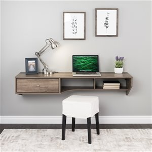 Prepac Modern Floating Desk with Drawer - Laminate Wood - Grey