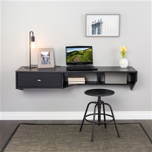 Prepac Modern Floating Desk with Drawer - Laminate Wood - Black