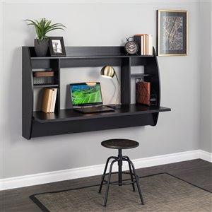Prepac Modern Floating Double Wide Desk - Laminate Wood - Black