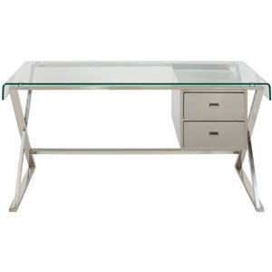 Plata Import Dream Metal and Glass Desk - 30-in x 55-in