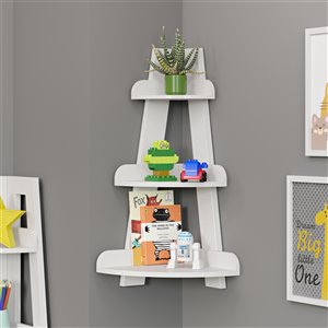 RiverRidge Home Kids Corner Ladder Wall Shelf - White