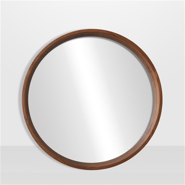 Round Framed Mirror Maple, Round Wood Frame Mirror Canada