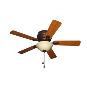 Harbor Breeze Mayfield 44-in Antique Bronze 5-Blade Flush Mount Ceiling Fan with Light Kit