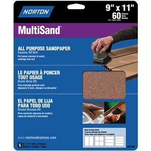 Norton Abrasives 60-Grit MultiSand Long Lasting Sandpaper (3-Pack)