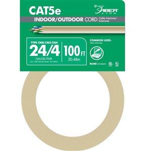 100-ft 24/4 CAT 5E Indoor/Outdoor Beige Data Cable