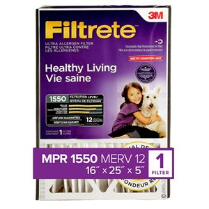 3M 16-in x 25-in x 5-in 1550 MRP Allergen Reduction Electrostatic Deep Pleated Air Filter