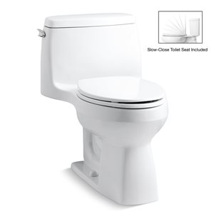 KOHLER Santa Rosa White 1-Piece Comfort Height Compact Elongated Toilet (1.28 GPF)