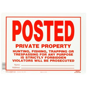 Hillman 10-in x 14-in Trespassing Sign