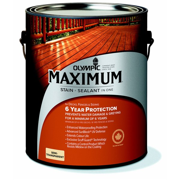 Olympic Maximum Semi Transparent Stain And Sealant Lowe S Canada
