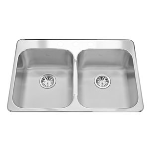 Kindred Kindred RDL2031 Satin 33inch Double Equal Bowl Reginox Drop-In 3-Hole Stainless Steel Kitchen Sink With Ledge