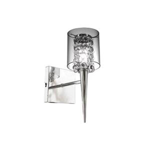 BAZZ Bazz M3820 Chrome 1 Light Clear Round Glass Shade Glam-Topaz Wall Sonce With Glass Beads