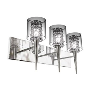 BAZZ Bazz M3823 Chrome 3 Light Clear Round Glass Shade Glam-Topaz Wall Sonce With Glass Beads