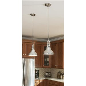 allen + roth 8.1-in W Polished Nickel Mini Pendant Light with Metal Shade