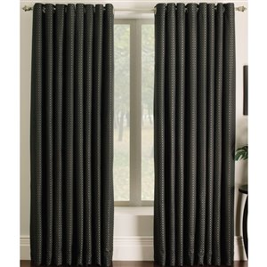 allen + roth Sullivan 84-in Checked Black Grommet Single Curtain Panel