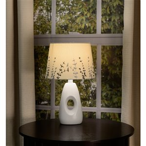 Allen Roth 7 In X 10 In Off White With Silver Screen Print Fabric Drum Lamp Shade Lowe S Canada