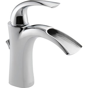DELTA Nyla Chrome 1-Handle Single Hole 4-in Centerset WaterSense Bathroom Sink Faucet with Drain