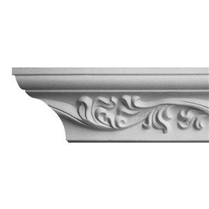 3/8 x 3-3/16 x 8-ft Leaf Crown Polyurethane Crown Moulding