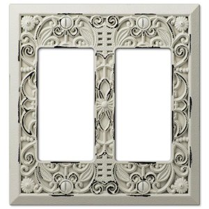 Amerelle Filigree 2-Gang Decorator Rocker Wall Plate (White)
