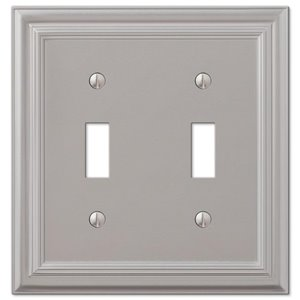 Amerelle Continental 2-Gang Toggle Wall Plate (Satin Nickel)