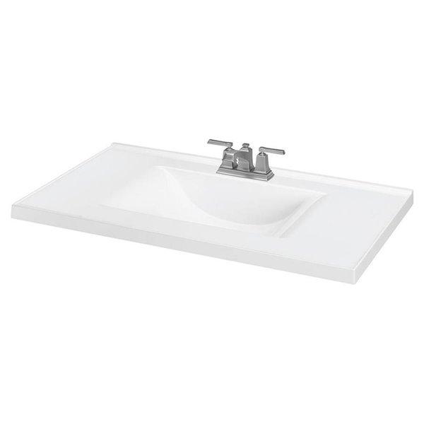 37 In White Wave White Integral Bathroom Vanity Top Lowe S Canada