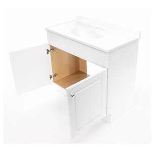 Project Source White (Common: 37-in x 19-in) Integral Single Sink Bathroom Vanity with Cultured Marble Top (Actual: 36.5-in X