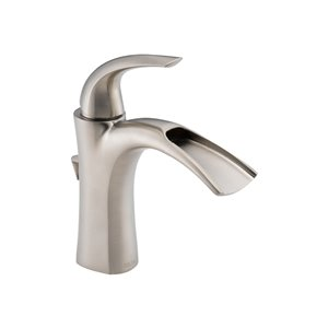 DELTA Nyla Brilliance Stainless 1-Handle Single Hole WaterSense Bathroom Sink Faucet with Drain