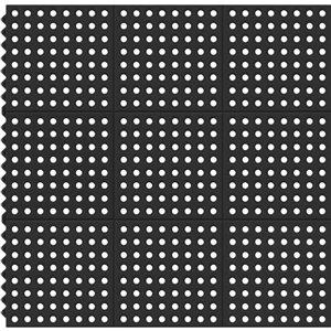 KORHANI 36-in x 36-in Mat Black Square Door Mat