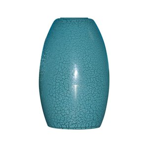 Portfolio 7-1/4-in H x 4-3/4-in W Blue Crackle Glass Mini Pendant Shade
