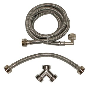 6-ft L 3/4-in Hose Thread Inlet x 3/4-in Outlet Braided Stainless Steel Steam Dryer-Installation Kit