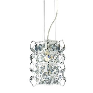 Style Selections Kentley 8-in W Chrome Standard Pendant Light with Metal Shade